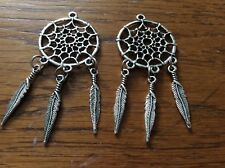 Dream catcher tibetan silver pendants x 2 approx 65mm x 27mm