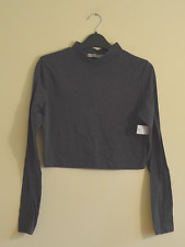 New! Atmosphere women's grey high neck crop top - UK 10 - polo hipster roll cowl