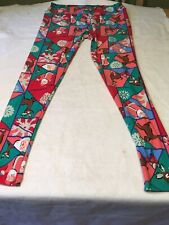 lularoe Womens Large Christmas Leggings Santa Deer Snowflake