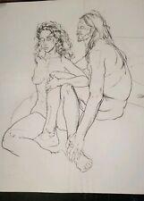Man & Woman Contemporary Original ART Drawing by PAUL WAGENER (American 1918)