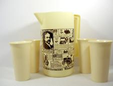 Vtg Montgomery Ward Pitcher 4 Cups Retro Advertising Kitchen Decor MCM