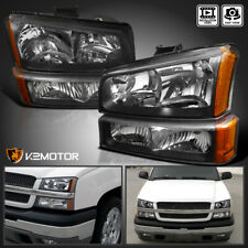 2003-2007 Chevy Silverado Black Headlights+Bumper Parking Lights Lamps 4PC