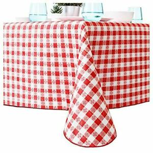 Red And White Checkered Tablecloth for Picnic Table Cover, Waterproof Vinyl
