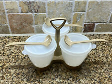 Almond Tupperware Condiment Caddy & three spoons 10 piece set 757 clear lids