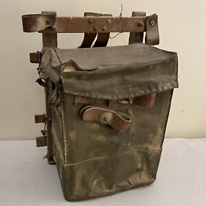 """WWII Communications Bag Tasche Wehrmacht leather German Army Wood Frame RARE 22"""""""