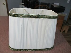 """VINTAGE RECTANGLE LAMPSHADE 14"""" x 8 1/2"""" BOTTOM CREAM W/GREEN GOLD P"""