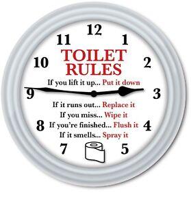 Bathroom Wall Clock - Toilet Rules Toilet Paper Restroom Humor FUNNY GIFT