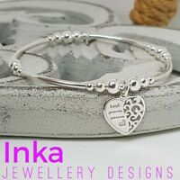 Inka Sterling Silver bead and noodle Stacking Bracelet with a Friendship charm