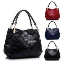 Fashion Women Crocodile Pattern Leather Shoulder Bag Female Tote Handbag, Red E4