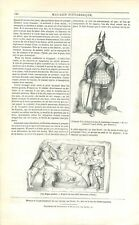 Costume Chef Gaulois Période Gallo-Romain Repas en Gaule à Paris GRAVURE 1842