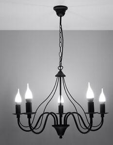 Kronleuchter schwarz FIORANO 5 x E14 Deckenlampe Stahl Kerzen elegant Pendel NL