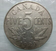 1929 CANADA 5¢ KING GEORGE V NICKEL COIN