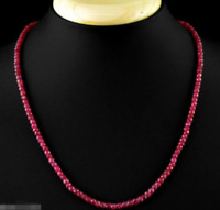 Fine 2x4mm Natural Faceted Brazil Red Ruby Gemstone Beads Necklace 18'' AAA