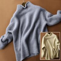 Women's Pullover Cashmere Sweater Tops Long Sleeve Turtleneck Baggy Winter Shirt