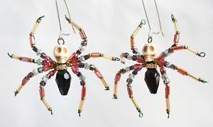 Handmade White Turquoise Skull Swarovski Crystal Spider Earrings - one paris