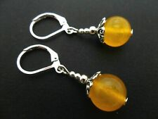 A PAIR OF YELLOW JADE SILVER PLATED DANGLY LEVERBACK HOOK EARRINGS. NEW.