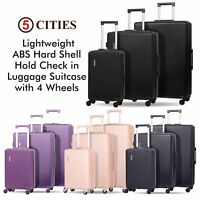 5 Cities 4 Wheel Hard Shell Hand Cabin & Hold Check in Luggage Suitcase & Sets