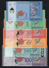 Set 6pcs Complete Malaysia 1 5 10 20 50 & 100 Ringgit (2012) P51 to P56 UNC