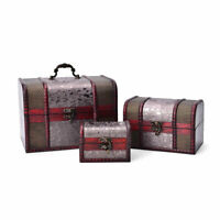 Set of 3 Silver Floral Faux Leather Treasure Chest Jewelry Organizer Box Storage