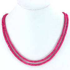 4x2mm Double Strands of Natural Ruby Faceted Rondelle Necklace 18""