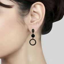 Natural Black Onyx Black Oxidized 925 Sterling Silver Dangle Earrings Jewelry