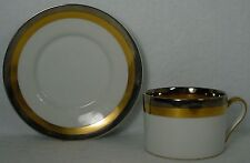 FITZ & FLOYD china PLATINE D'OR pattern Cup & Saucer
