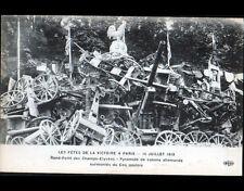 PARIS Fete de la VICTOIRE / PYRAMIDE de CANONS ALLEMANDS & COQ PATRIOTIQUE 1919