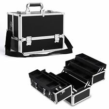 Extra Large Space Alu Black Beauty Make up Nail Tech Cosmetic Box Vanity Case