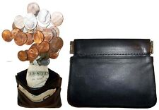 New Black Leather Squeeze change purse metal framed squeeze Coin Change Case