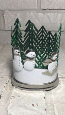 NEW BATH & BODY WORKS SPARKLING SNOWMAN WITH TREES METAL HAND SOAP SLEEVE HOLDER
