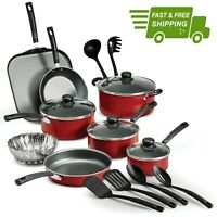 COOKING NON STICK Pots and Pans & Lids 18 Piece Cookware Nonstick Tramontina RED