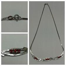 Hermosa Collar 835 Cadena de plata cadena de Plata Joyería Plata L 43 cm Rubí ?