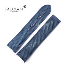 20mm Blue Rubber Blue Nylon Watch Band For OMEGA Seamaster Planet Ocean 45 42mm