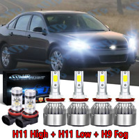 6Pc For Chevrolet Impala 2006-2013 Combo LED Headlight Fog Light Bulbs Kit H&L