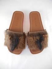 Prada (Sz 36) NWOB NEW Brown Fur & Pink Slides Flats Sandals