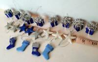 Miniature Stars Stockings Gift Boxes blue silver white decorations lot of 21