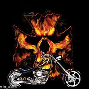 Maltese Cross Biker Skull HEAT PRESS TRANSFER for T Shirt Sweatshirt Quilt #047k