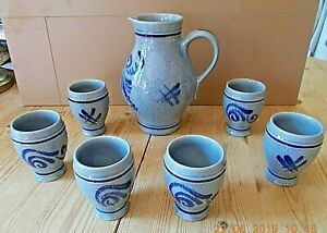 VINTAGE BLUE STONEWARE MARZI AND REMY PITCHER AND 6 TUMBLERS .. W GERMAN