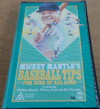 MICKEY MANTLE'S BASEBALL TIPS FOR KIDS OF ALL AGES VHS VGC 1986 60 MINS