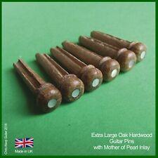 Oak Hardwood & Mother of Pearl Inlay 5.7mm Extra large Guitar Bridge Pins PP054