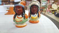 Vintage Japan Native American Indian Head Salt & Pepper Shakers