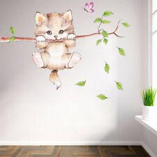 beaux chats arbre branche papillon interrupteur Wall Sticker animal art stickerP