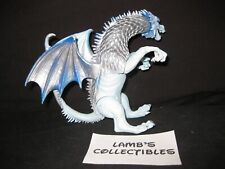 """Blue White Silver Dragon action figure 6"""" long 4 1/2"""" tall Blue eyed no brand"""