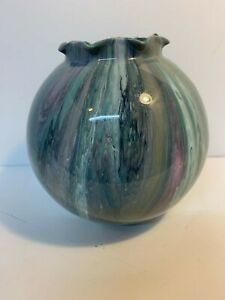 Hand Painted 6 inch Flower Vase. Acrylic Pour Resin Coated C721