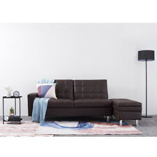 Italian Style Faux Leather Sectional Sofa w/ Storage Ottoman Cup Holder Couch