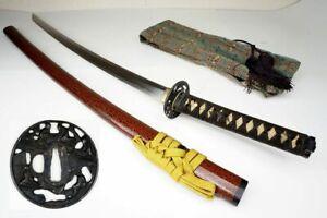 "Signed Antique Japanese Samurai 86.3cm Long Katana Sword ""Hankei 繁慶"" Nihonto"