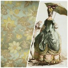 NEW COLOR! SALE 100% Silk Brocade Satin Fabric 18th C. Embroidered Floral Green