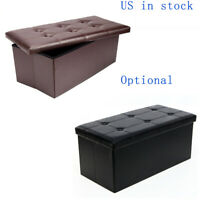 Foldable Storage Ottoman End Bed Bench Faux Leather Padded Seat Footrest Stool