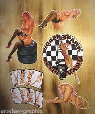 Retro Aufkleber 6er Set  Oldschool Pin up Sticker / Girls / Strip / Pinup & Lady