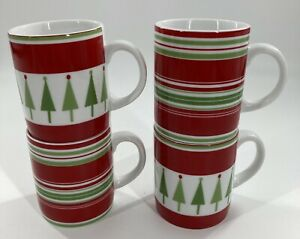 Lot 4/ Crate & Barrel Holiday Mugs, Stripes, Trees, Red/Green/White